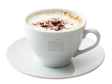 White mug of coffee isolated