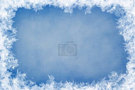 Photo for Winter frame of gleaming ice, in the center of the composition aged textured background - Royalty Free Image