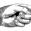 Hand with pointing finger in black and white woodc...