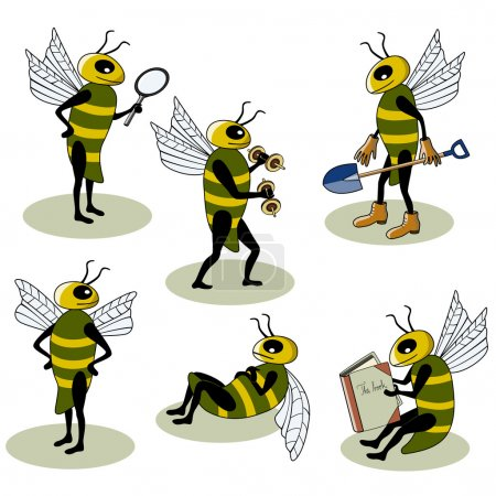 Illustration for Selection of vector bees characters - Royalty Free Image