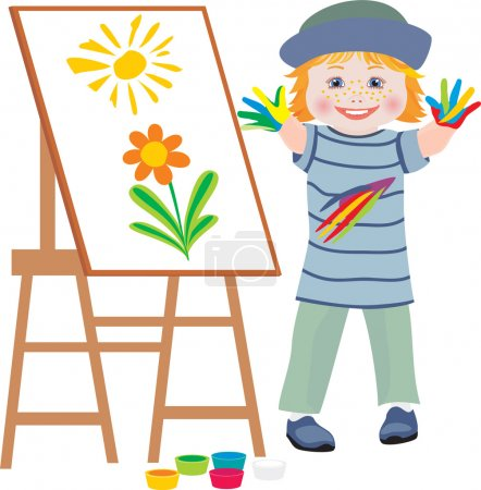 Illustration for The small child draws hands - Royalty Free Image