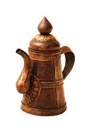 Photo pour Ancienne cruche en cuivre ancienne poignée, antique traditionnelle - image libre de droit