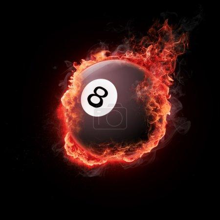 Photo pour Pool snooker boule blanche noire de huit en flammes - image libre de droit
