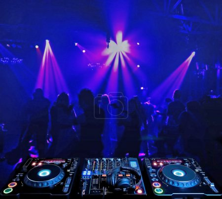 Dj mixer and in nightclub