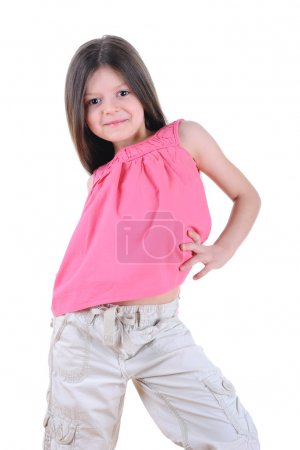 Photo pour Happy little girl posing.isolated sur fond blanc - image libre de droit