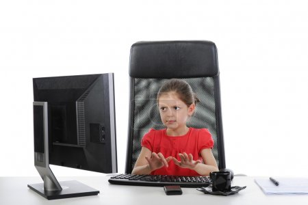 Girl in the office computer
