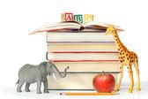 pile de livres avec des animaux-jouets