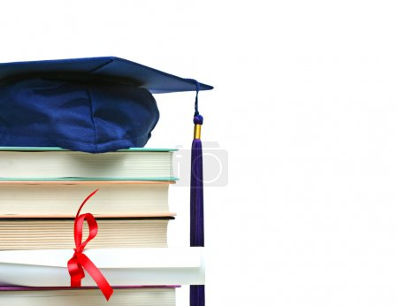 Photo for Stack of books with cap and diploma on white background - Royalty Free Image