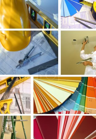 Photo for Collage of various photos for construction and home improvement - Royalty Free Image
