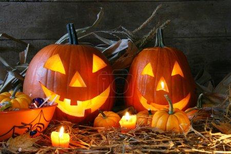 Photo pour Scarved jack-o-lanternes allumées pour halloween - image libre de droit