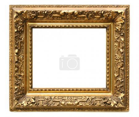 Old cracked gilded frame on white