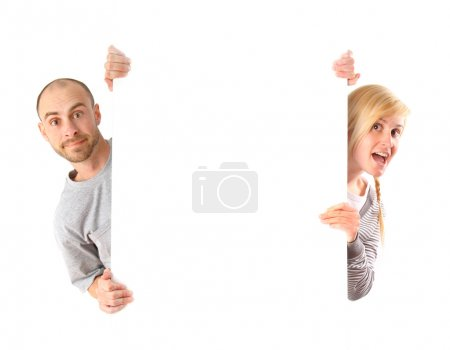 Photo for Man and woman holding white board - Royalty Free Image