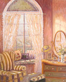 Whimiscal oil painting of a child's bedroom