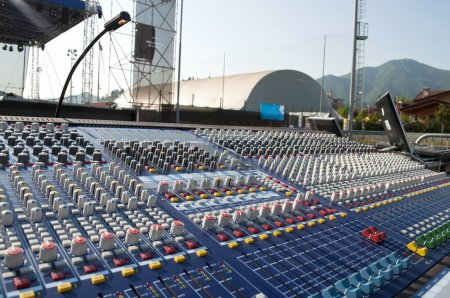 Photo for Big mixer console in a concert stage - Royalty Free Image