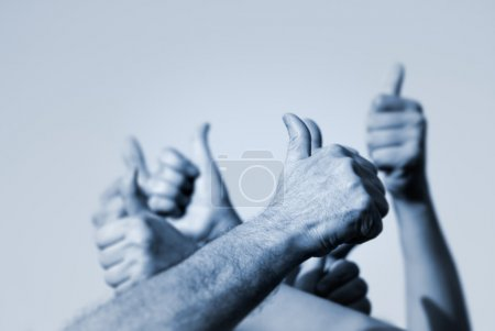 Photo for Hands of the with OK signs (special toned,focus point on nearest hand of the man) - Royalty Free Image