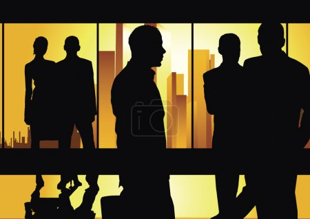 Photo pour Hommes d'affaires réunis sur le fond urbain (or lumineux f / x) - image libre de droit