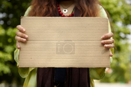 Real woman with cardboard