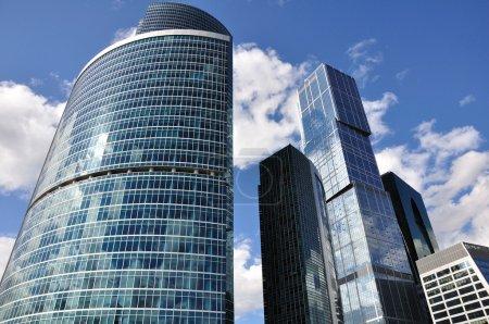 Skyscrapers against the dark blue sky.