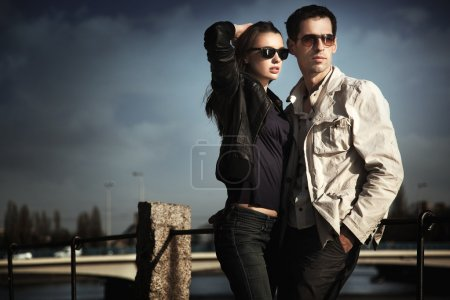 Photo for Attractive young couple wearing sunglasses - Royalty Free Image