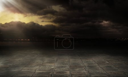 Photo for Dramatic sky over city streets - Royalty Free Image