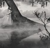 Képzőművészet fotó egy nő a szépség a táj a fekete-fehér
