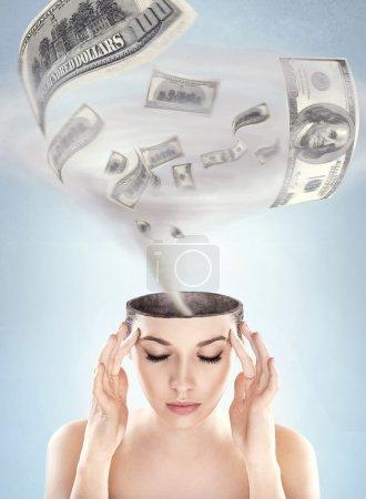 Dollars tornado in woman's head