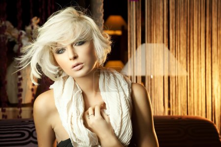 Portrait of beautiful blonde with scarf