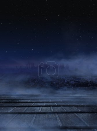 Photo for Amazing view of city at the night,dark clouds over urban background - Royalty Free Image