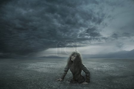 Photo for Lost woman in stormy day - Royalty Free Image