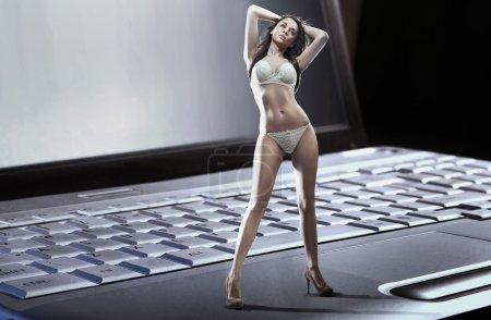 Foto de Mujer sexy usando portátil n lencería de pie - Imagen libre de derechos