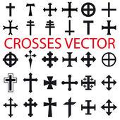 Set Crosses vector various religious symbols