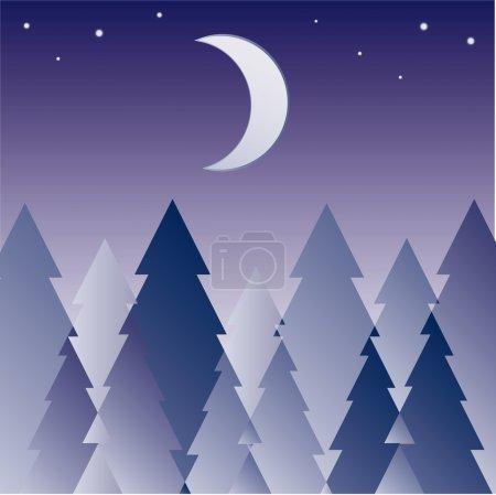 Illustration pour Illustration colorée abstraite avec silhouette d'herbe sombre illuminée par la lumière de la lune - image libre de droit