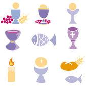 Set of Illustration of a communion depicting traditional Christian symbols