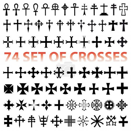 Set Crosses Christan vector. various religious symbols