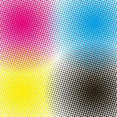 Halftone CMYK vector illustration background