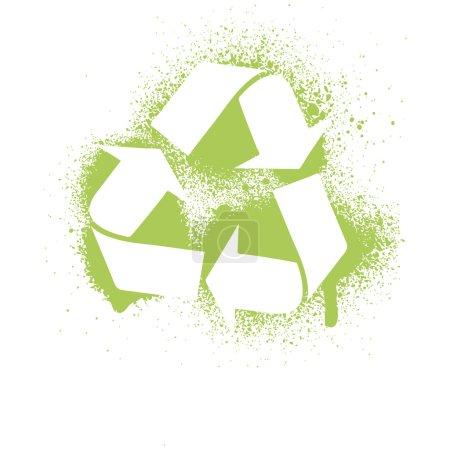 Vector illustration of an ink splatter recycle symbol design element.