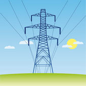 Vector silhouette of high voltage electric line