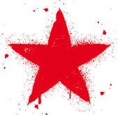 Red star spray graffiti ink vector illustration