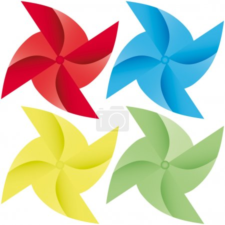 Colorful windmill vector origami illustration