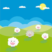 Vector sheep with wolf vector illustration cartoon