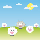 Vector sheep with wolf vector illustration cartoon