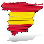 Abstract vector color map of Spain country coloured by national flag