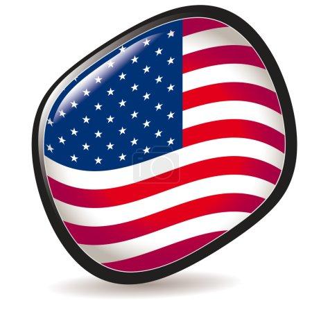 USA, shiny button flag vector illustration