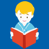 Child Reading Book - Vector