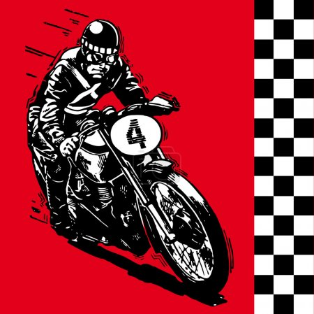 Moto motocycle retro vintage classic vector illustration