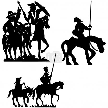 Don Quijote vector silhouettes. Don Quixote....