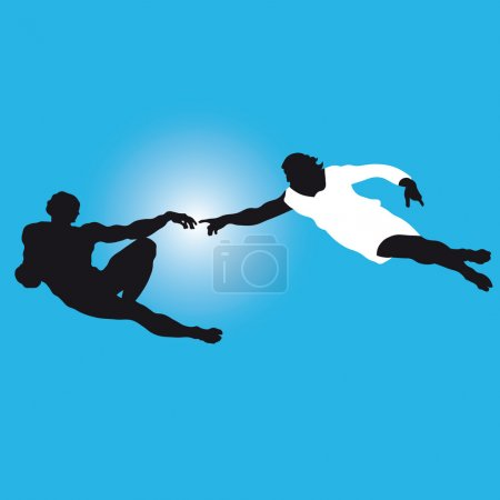 """the creation of Adam"" Silhouettes illustration Vector."