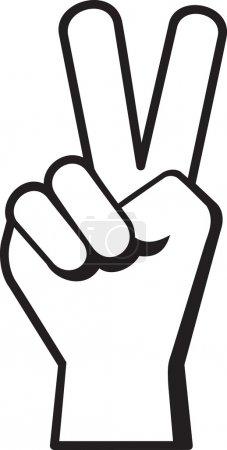 Photo pour Paix main signe symbole en noir. - image libre de droit