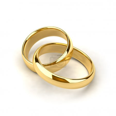 Photo for Two wedding rings, like links in the chain are interconnected - Royalty Free Image