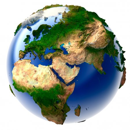 Photo pour Modèle 3D du globe avec un relief vertical exagéré - image libre de droit